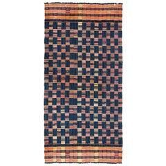 Blue Ewe Kente Cloth African Textile, Midcentury