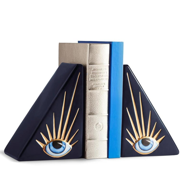 Hand-Painted Blue Eyes Set of 2 Bookends For Sale