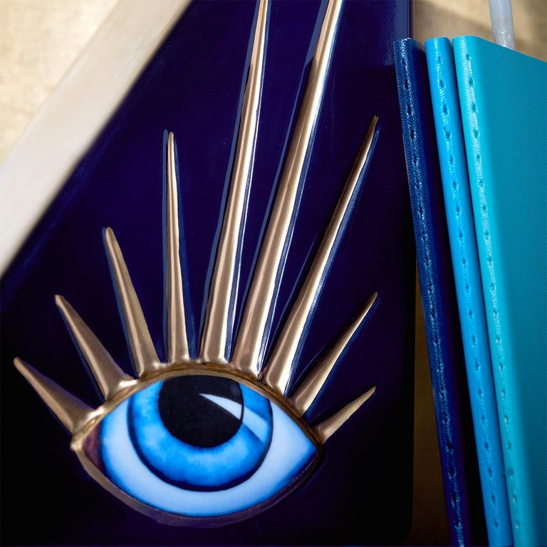 Contemporary Blue Eyes Set of 2 Bookends For Sale