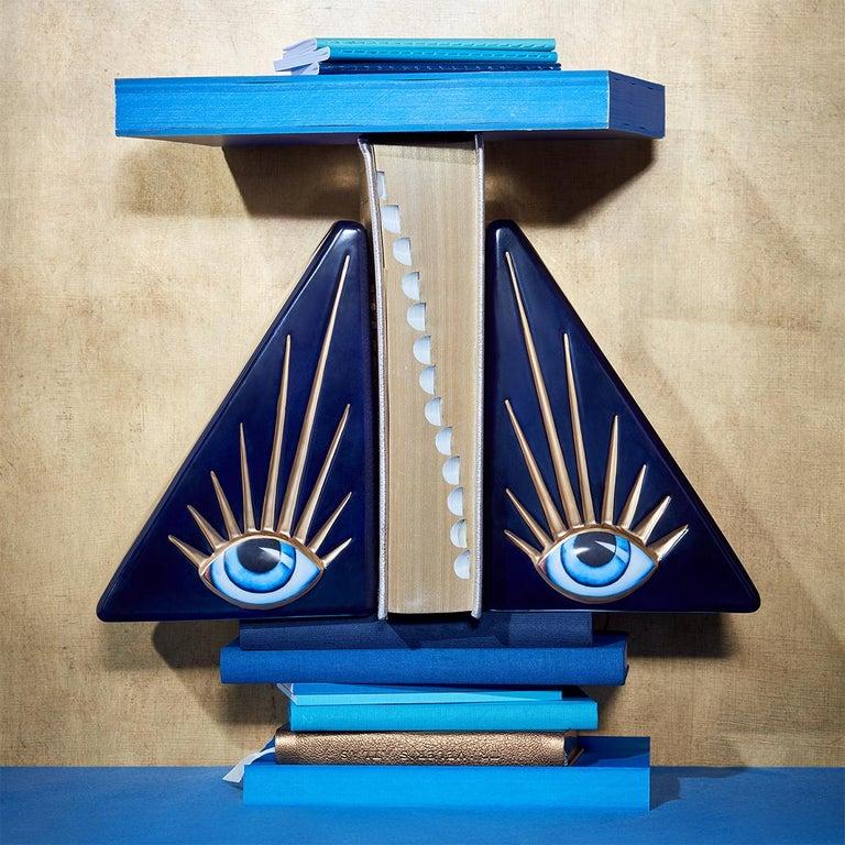 Porcelain Blue Eyes Set of 2 Bookends For Sale