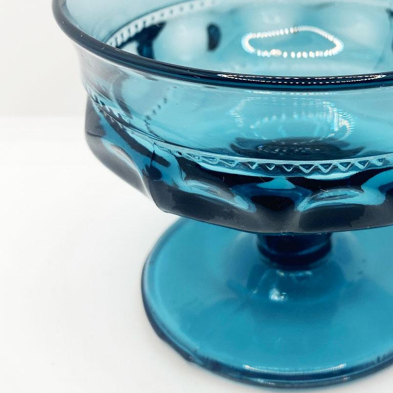 Mid-Century Modern Blue Faceted Depression Glass Coupe Glasses by Fostoria 1980s, Set of 8 For Sale