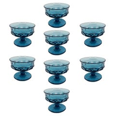 Blue Faceted Depression Glass Coupe Glasses by Fostoria 1980s, Set of 8