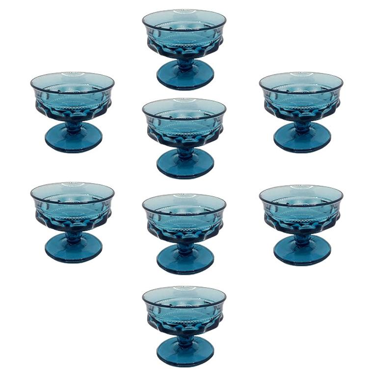 Blue Faceted Depression Glass Coupe Glasses by Fostoria 1980s, Set of 8 For Sale