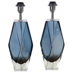 Blue Faceted Pair of Murano Glass Table Lamps