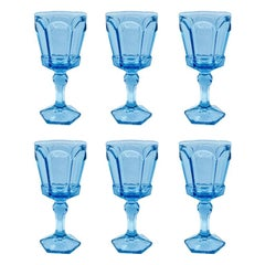 Blue Faceted Virginia Pattern Drinking Glasses by Fostoria 1980s, Set of 6
