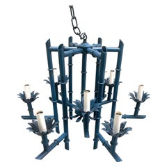 Blue Faux Bamboo Chinoiserie Chandelier