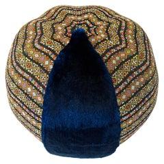 Blue Faux Fur Pouf / Ottoman with Bohemia Style Fabric