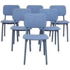 Blue Felt Chairs by Delo Lindo for Ligne Roset, Set of 6