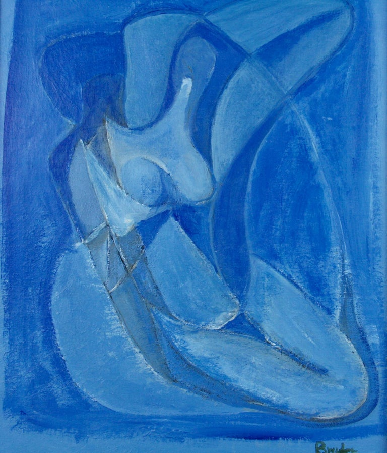 Late 20th Century Blue Figurative Abstract Painting
