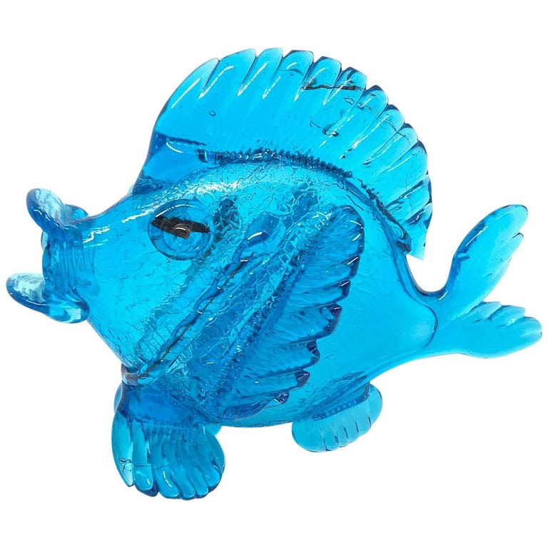 Blue Fish Murano Art Glass Statue Italy Venice 1980s For Sale