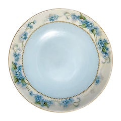 Blue & Gold Floral Hand Painted Saucer or Catch All Dish Haviland France 1800's