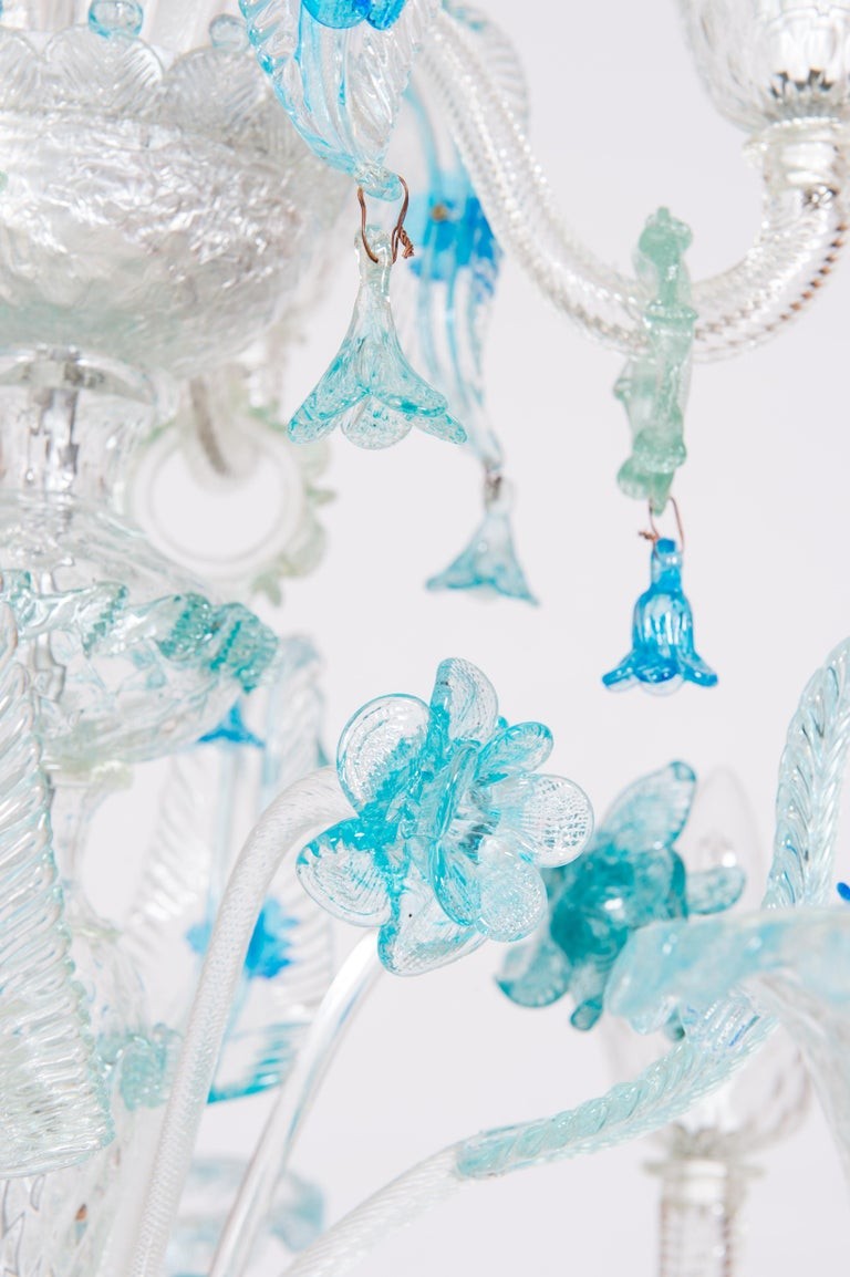 Blue Floral Murano Glass Chandelier, Italy, Contemporary For Sale 3