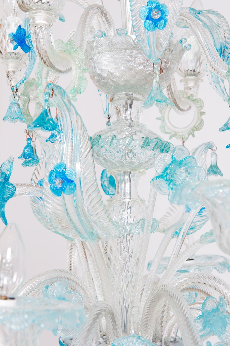 Blue Floral Murano Glass Chandelier, Italy, Contemporary For Sale 8
