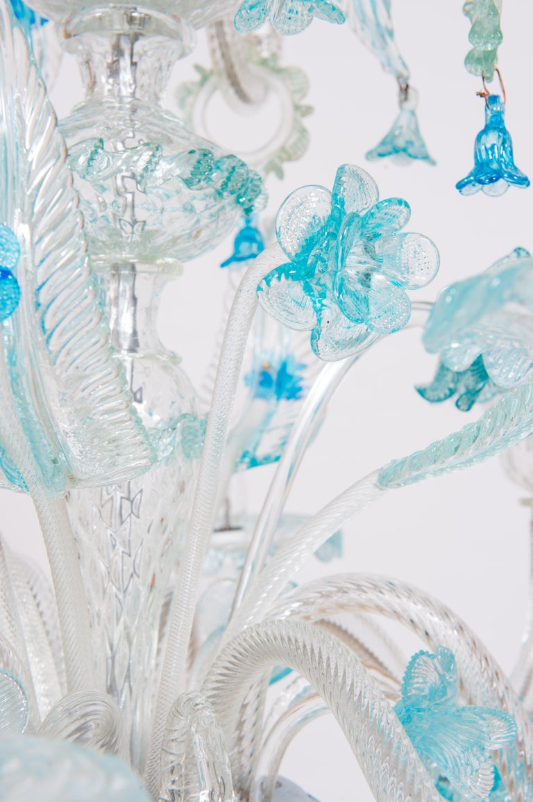 Blue Floral Murano Glass Chandelier, Italy, Contemporary For Sale 6