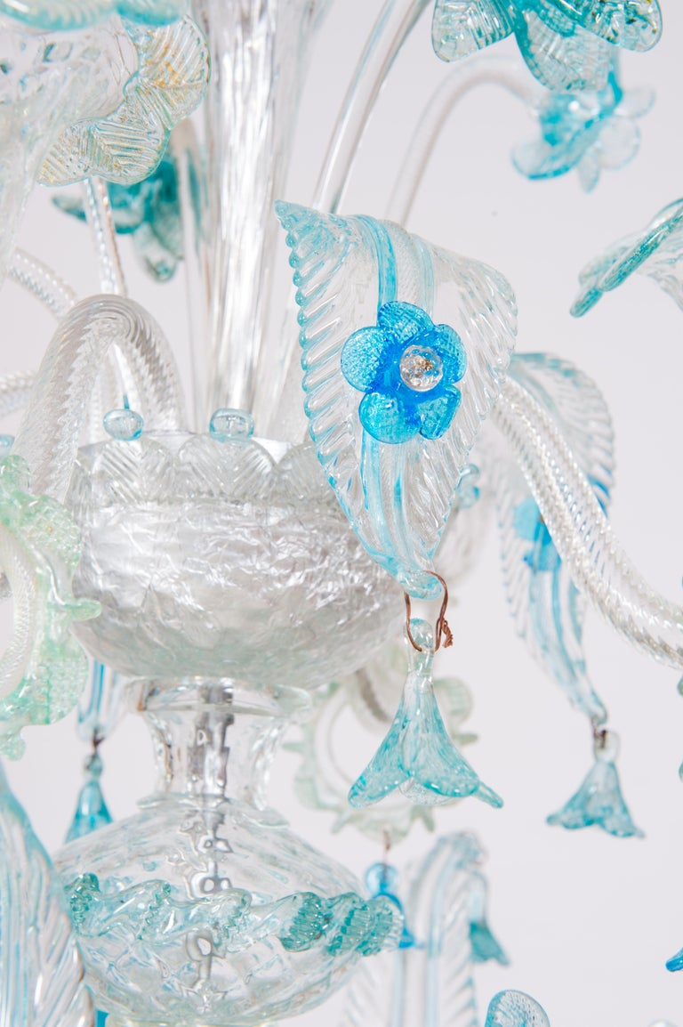 Blue Floral Murano Glass Chandelier, Italy, Contemporary For Sale 11