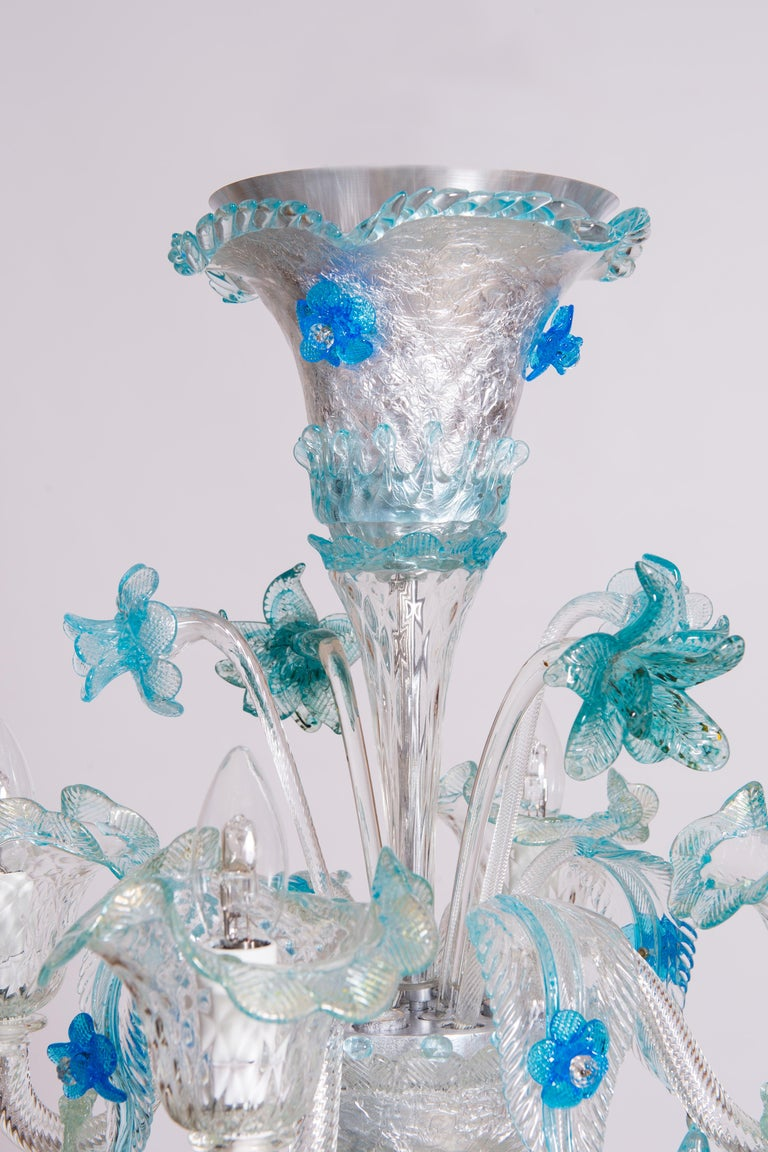 Blue Floral Murano Glass Chandelier, Italy, Contemporary For Sale 13