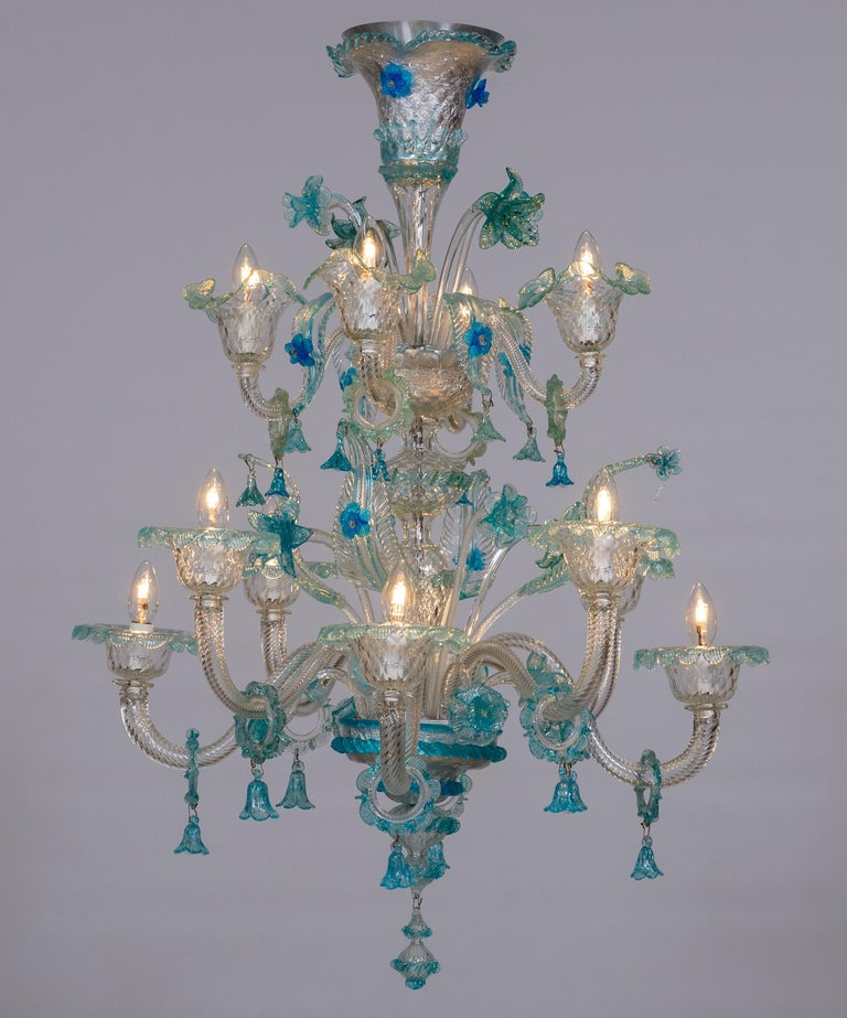 Blue Floral Murano Glass Chandelier, Italy, Contemporary For Sale 17