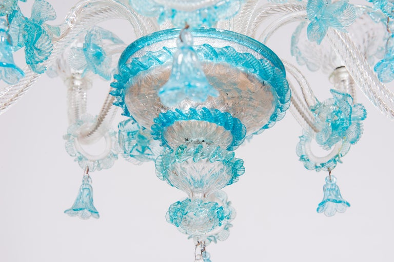 Blue Floral Murano Glass Chandelier, Italy, Contemporary For Sale 1
