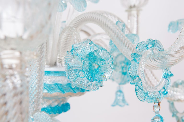 Blue Floral Murano Glass Chandelier, Italy, Contemporary For Sale 4