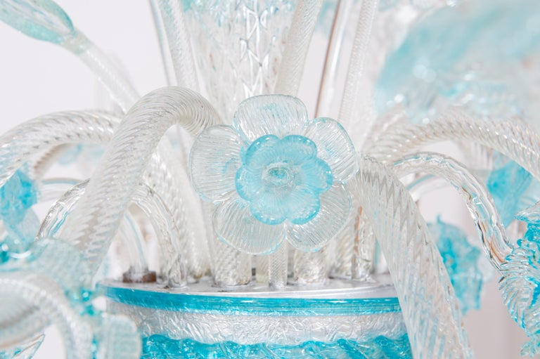 Blue Floral Murano Glass Chandelier, Italy, Contemporary For Sale 5