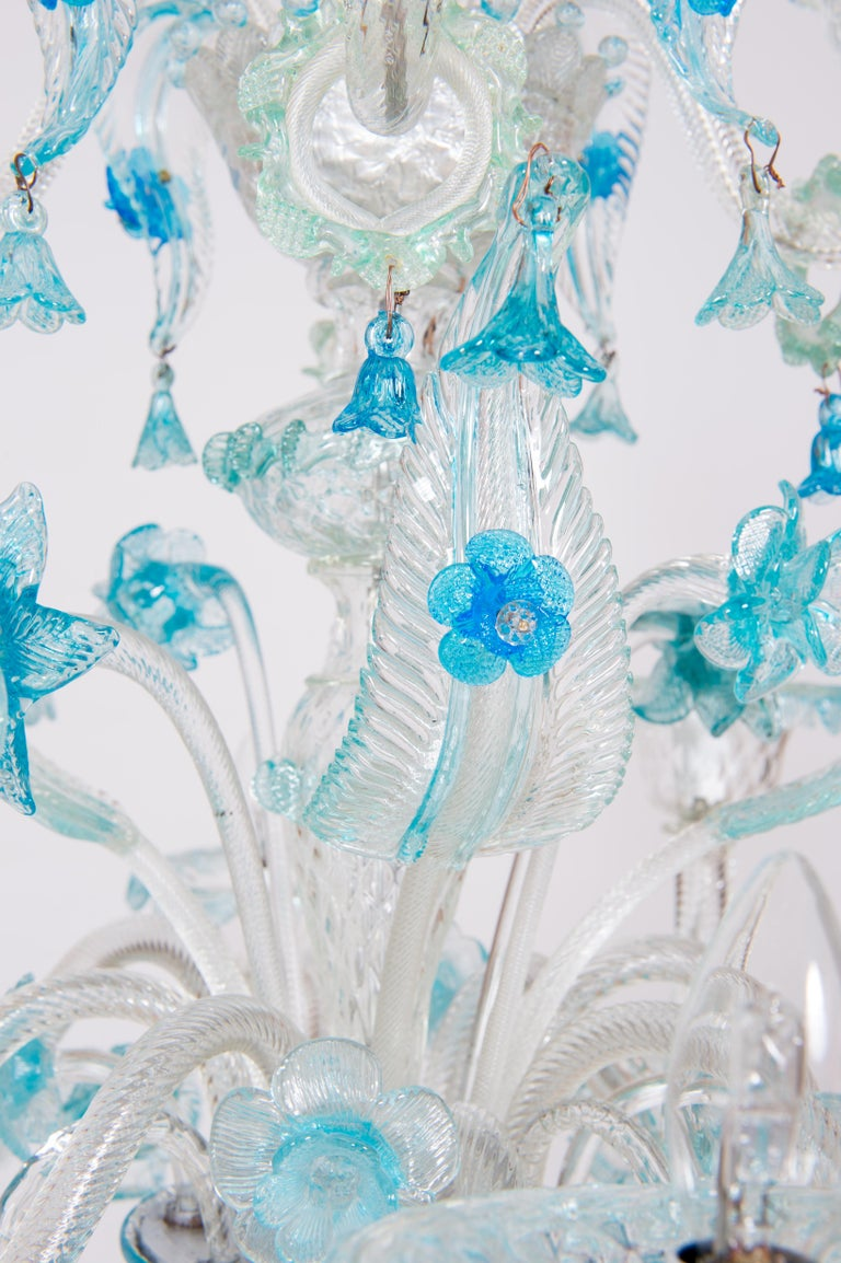 Blue Floral Murano Glass Chandelier, Italy, Contemporary For Sale 2