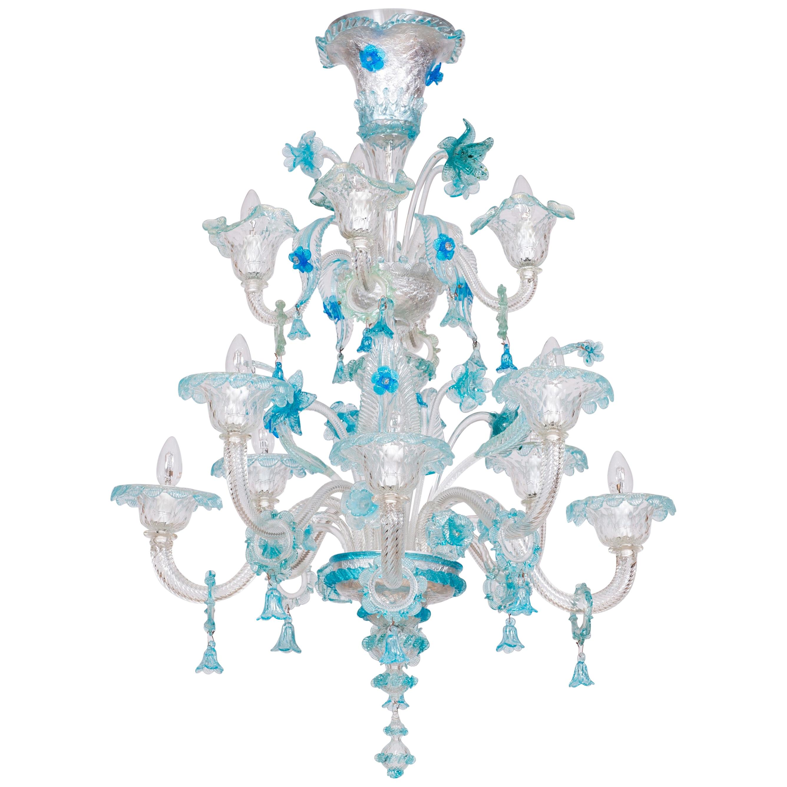 Double stadium Chandelier in blown Murano Glass Blue Floral 1990s Italy
