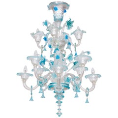 Blue Floral Murano Glass Chandelier Contemporary Italy