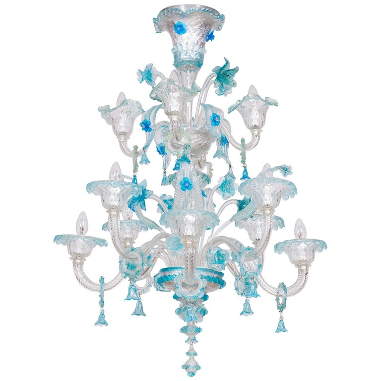 Blue Floral Murano Glass Chandelier, Italy, Contemporary For Sale