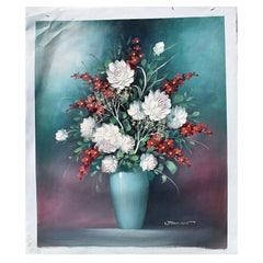 Large Scale Floral Still Life Oil Painting on Canvas of Flowers in Vase