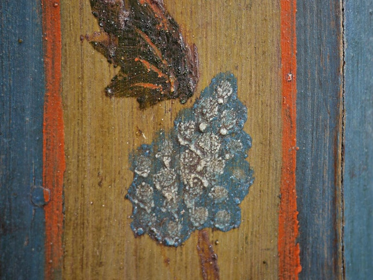 Blue Floral Painted Alpine Wardrobe For Sale 5