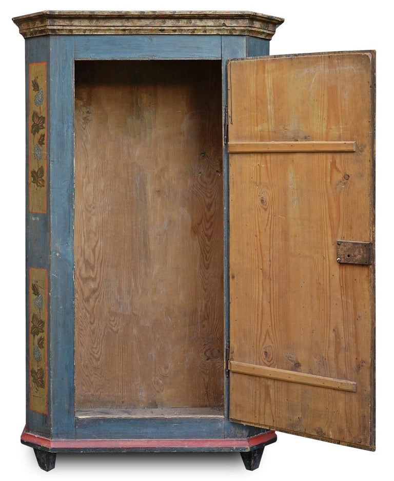 Italian Blue Floral Painted Alpine Wardrobe For Sale