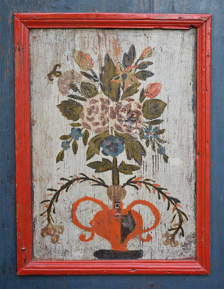 Hand-Painted Blue Floral Painted Alpine Wardrobe For Sale