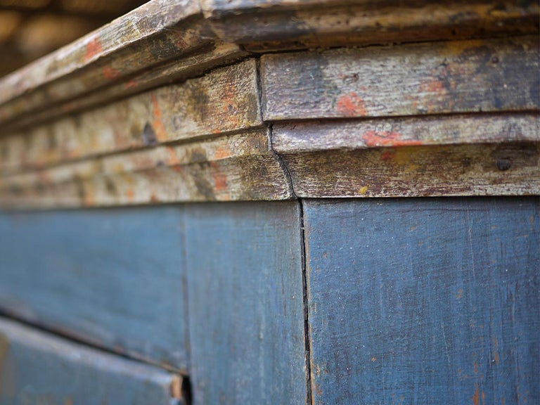 Early 19th Century Blue Floral Painted Alpine Wardrobe For Sale