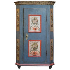 Blue Floral Painted Alpine Wardrobe