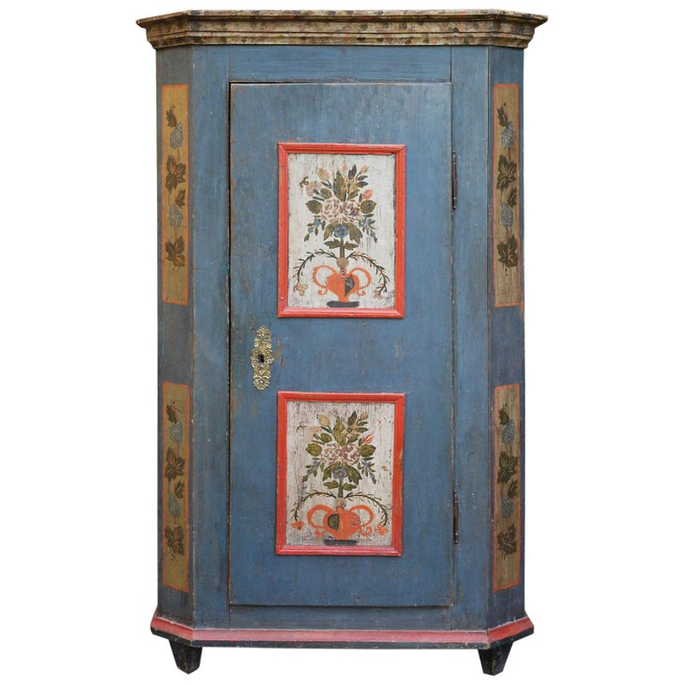 Blue Floral Painted Alpine Wardrobe For Sale