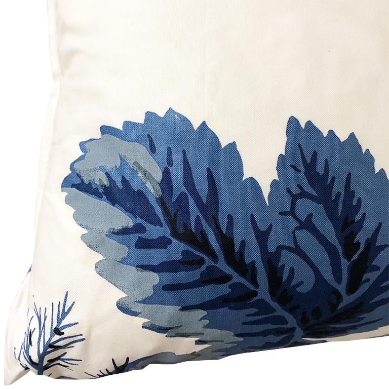American Classical Blue Floral Schumacher Pyne Hollyhock Down Filled Pillow with Knife Edge 15 x 15 For Sale