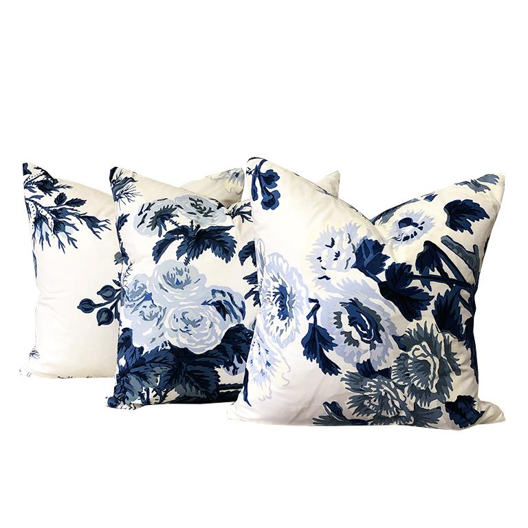 Contemporary Blue Floral Schumacher Pyne Hollyhock Down Filled Pillow with Knife Edge 15 x 15 For Sale