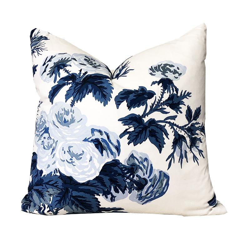 Blue Floral Schumacher Pyne Hollyhock Down Filled Pillow with Knife Edge 15 x 15 For Sale