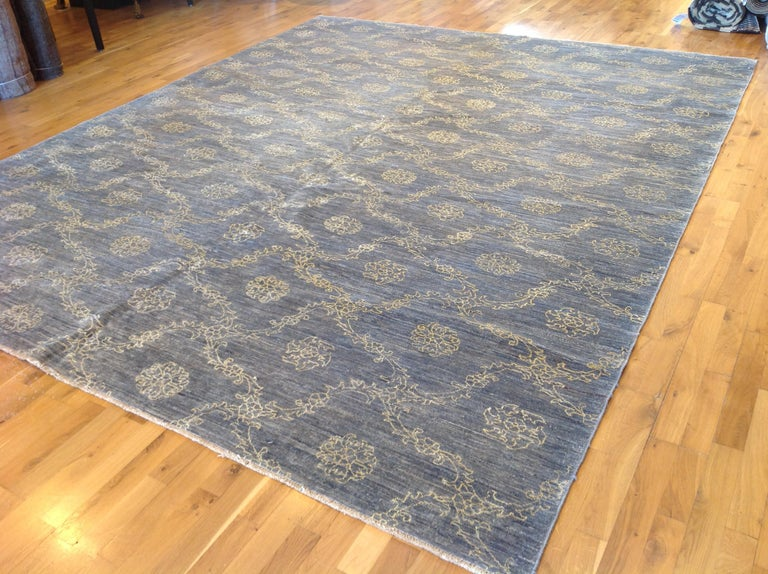 Pakistani Blue Floral Stencil Design Wool and Silk Area Rug For Sale