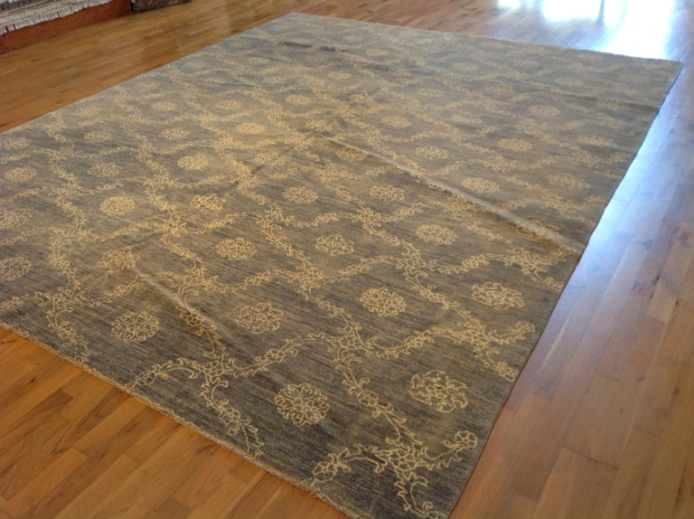 Hand-Knotted Blue Floral Stencil Design Wool and Silk Area Rug For Sale