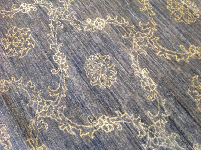 Blue Floral Stencil Design Wool and Silk Area Rug For Sale 1
