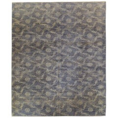 Blue Floral Stencil Design Wool and Silk Area Rug