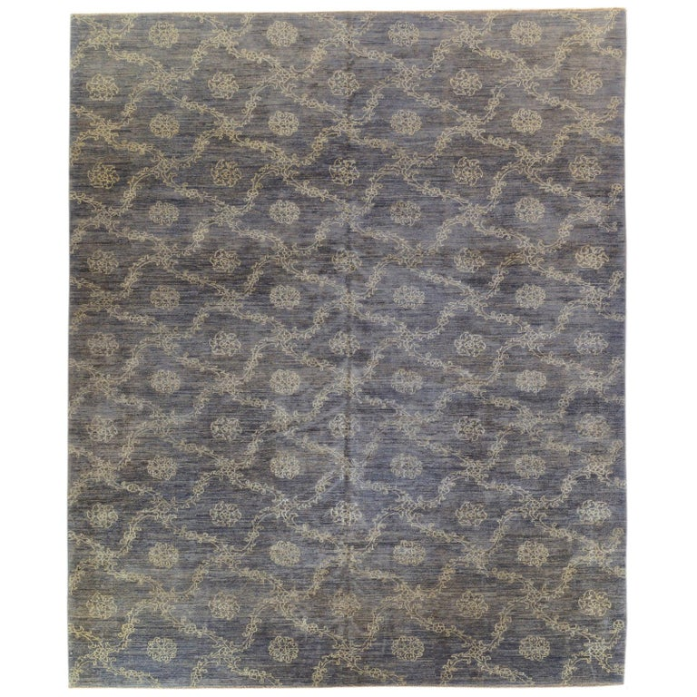 Blue Floral Stencil Design Wool and Silk Area Rug For Sale