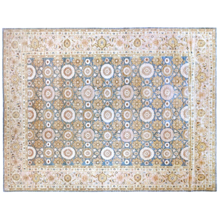 Pakistani Blue Floral Wool Area Rug with Pink and Gold For Sale