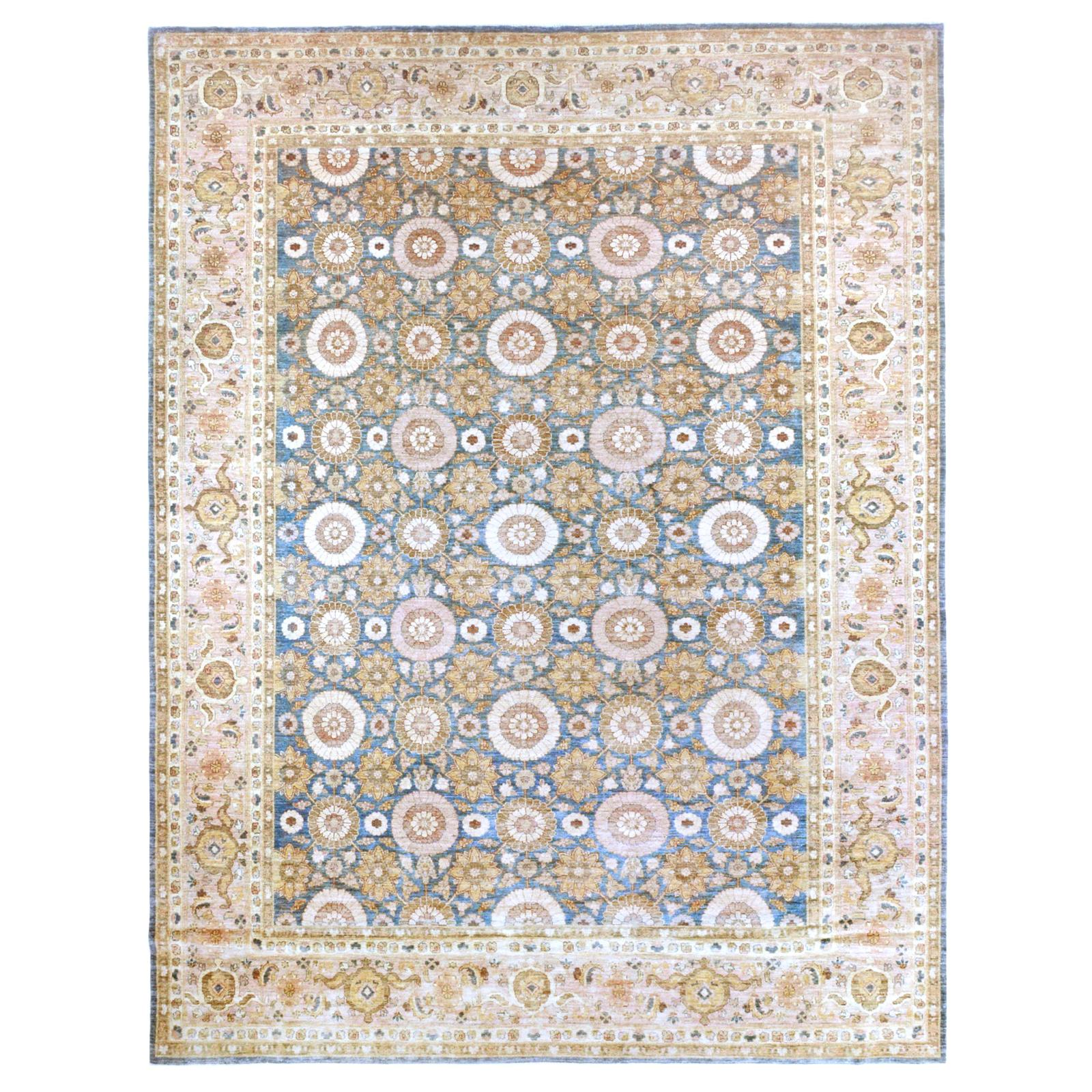 Blue Floral Wool Area Rug with Pink and Gold