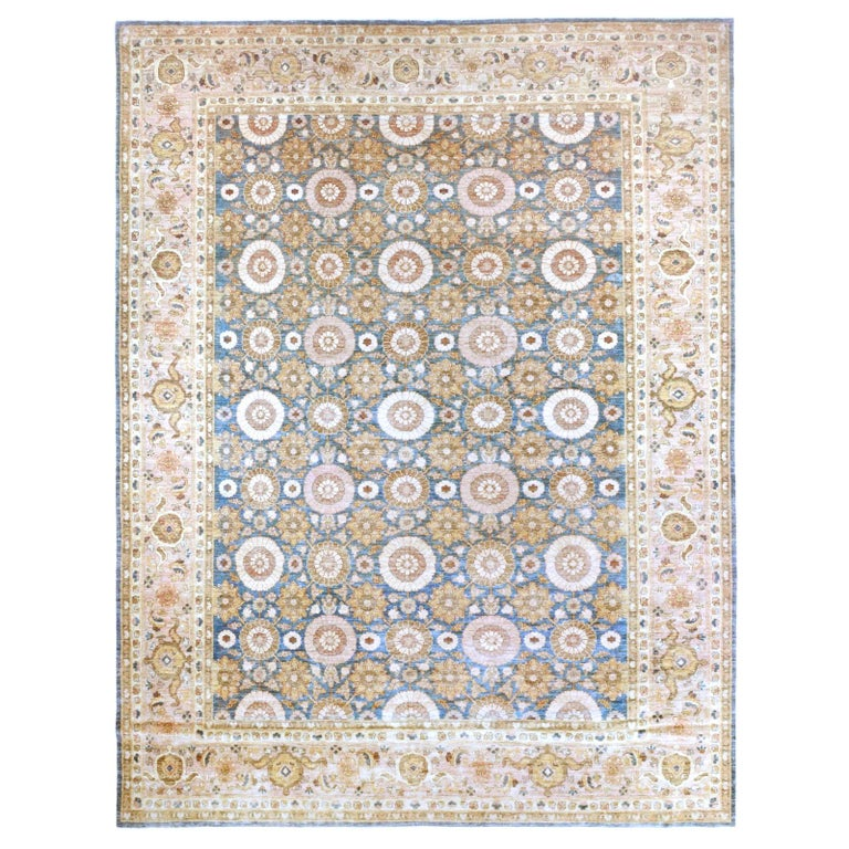 Blue Floral Wool Area Rug with Pink and Gold For Sale