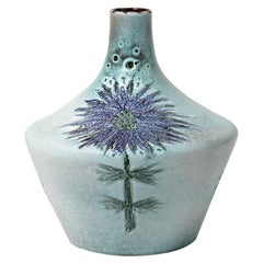 Blue Flower Ceramic Vase Colored Pottery Thistle Decoration by MM Jolly