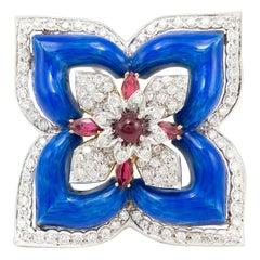 Blue Flower Enamel and Diamond Pin