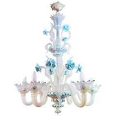 Blue Flower Murano Glass Chandelier