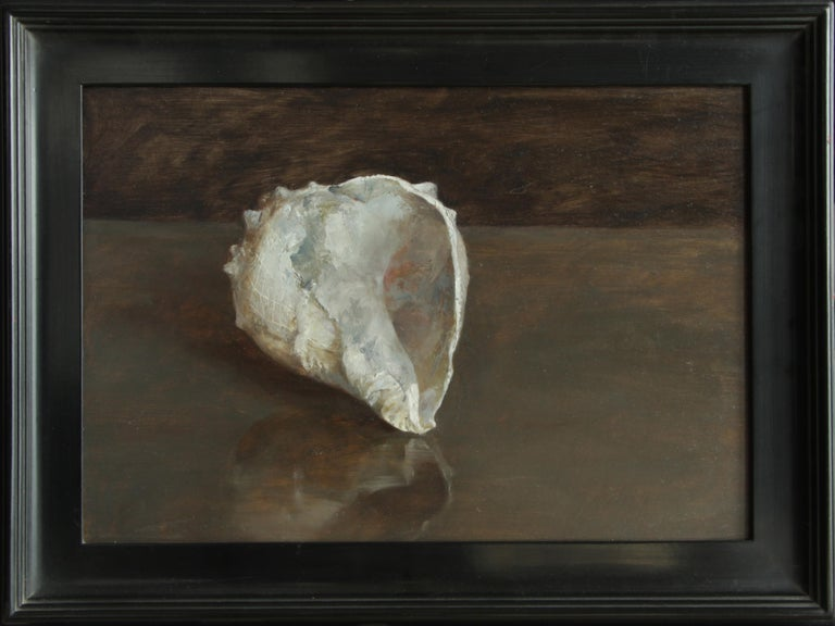 Hand-Painted Blue Fossil Shell, Single Sea Shell Fossil on a Deep Brown Toned Background For Sale